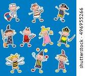 carnival figures  label  vector ... | Shutterstock .eps vector #496955266