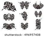 tribal horse symbols.... | Shutterstock .eps vector #496957408