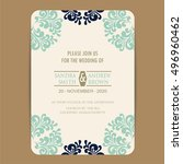 wedding invitation card with... | Shutterstock .eps vector #496960462