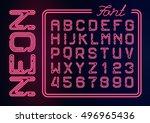 realistic neon red alphabet... | Shutterstock .eps vector #496965436