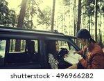 woman adventure get lost... | Shutterstock . vector #496966282