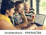 young women shopping online... | Shutterstock . vector #496966786