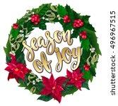 merry christmas wreath  new... | Shutterstock .eps vector #496967515