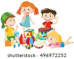 four kids playing with toys... | Shutterstock .eps vector #496972252