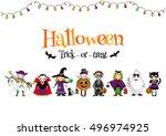 group of kids in halloween...   Shutterstock .eps vector #496974925