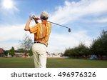 men player golf hit swing shot... | Shutterstock . vector #496976326
