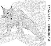 stylized hunting wildcat  lynx  ...   Shutterstock .eps vector #496979128