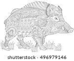 stylized wild boar  razorback ...