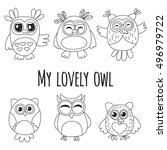 vector set with cute owls kids... | Shutterstock .eps vector #496979722