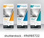 roll up banner stand template... | Shutterstock .eps vector #496985722