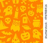 halloween seamless pattern in... | Shutterstock . vector #496988416