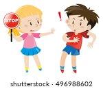 girl holding stop sign... | Shutterstock .eps vector #496988602