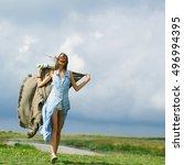 pretty girl slim sexy female... | Shutterstock . vector #496994395