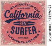 vintage surfing graphics and... | Shutterstock .eps vector #496996435