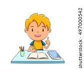 Happy Kid  Homework  Studying