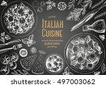 italian cuisine top view frame. ... | Shutterstock .eps vector #497003062