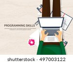 programming and coding... | Shutterstock .eps vector #497003122
