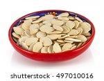 the red ceramic bowl with... | Shutterstock . vector #497010016