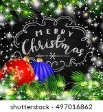 black chalkboard for christmas | Shutterstock .eps vector #497016862