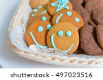 funny smiling cookies in a food ... | Shutterstock . vector #497023516