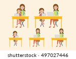 mother and daughter with laptop ... | Shutterstock .eps vector #497027446