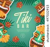 tiki tribal mask   hawaiian... | Shutterstock .eps vector #497032915