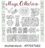 vintage collection with graphic ... | Shutterstock .eps vector #497037682
