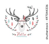 cute indian deer and bird. hand ... | Shutterstock .eps vector #497044336