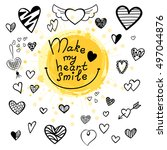 hand drawn hearts set for... | Shutterstock .eps vector #497044876