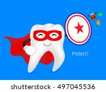 cartoon tooth with shield ... | Shutterstock .eps vector #497045536