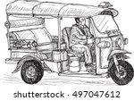 tuk tuk skech  traditional...   Shutterstock .eps vector #497047612