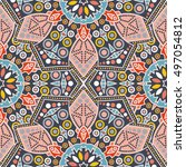 seamless pattern ethnic style.... | Shutterstock . vector #497054812