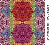 seamless pattern ethnic style.... | Shutterstock . vector #497055295