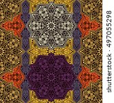 seamless pattern ethnic style.... | Shutterstock . vector #497055298