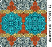 seamless pattern ethnic style.... | Shutterstock . vector #497055412