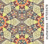 seamless pattern ethnic style.... | Shutterstock . vector #497055478