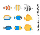 tropical fish vector collection ... | Shutterstock .eps vector #497085052