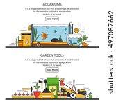 aquarium and garden tools... | Shutterstock .eps vector #497087662