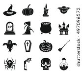 halloween icons set in simple... | Shutterstock . vector #497096572