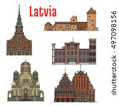 latvia famous historic...   Shutterstock .eps vector #497098156