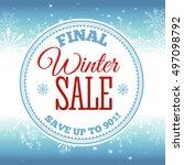 winter sale poster. vector... | Shutterstock .eps vector #497098792