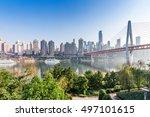 modern panoramic skyline of chongqing,yangtze river bridge,china