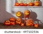 halloween pumpkins | Shutterstock . vector #497102536
