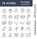 set vector line icons in flat... | Shutterstock .eps vector #497111215