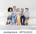 casual children cheerful cute... | Shutterstock . vector #497112412