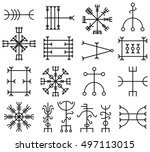 vector set of ancient runes of... | Shutterstock .eps vector #497113015