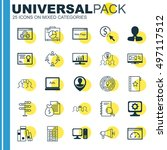 set of 25 universal icons on... | Shutterstock .eps vector #497117512