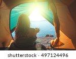 woman in the tent near... | Shutterstock . vector #497124496