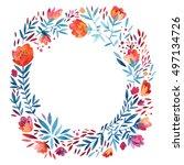 watercolor cute ornate wreath... | Shutterstock . vector #497134726