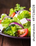 greek salad with lettuce ... | Shutterstock . vector #497136028